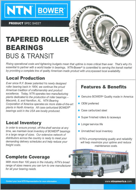 NTN Tapered Roller Bearings Bus and Transit Applications Sheet first page image
